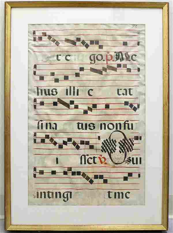 16TH CENTURY ANTIPHONAL MANUSCRIPT PAGE
