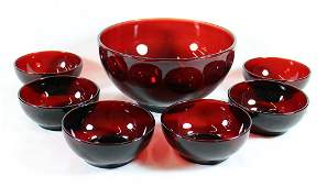 ROYAL RUBY RED SALAD BOWL SET