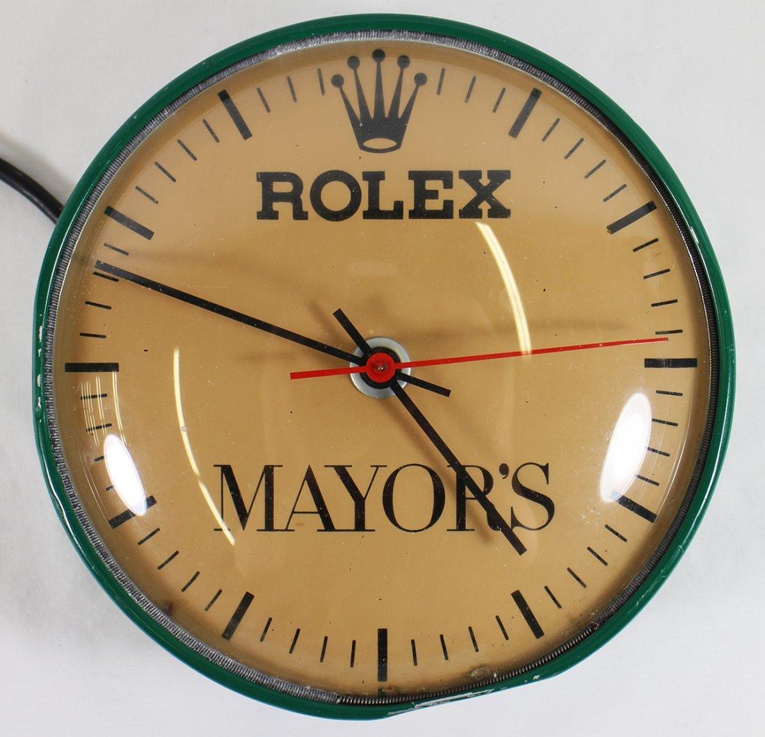 VINTAGE MAYORS ROLEX WALL CLOCK
