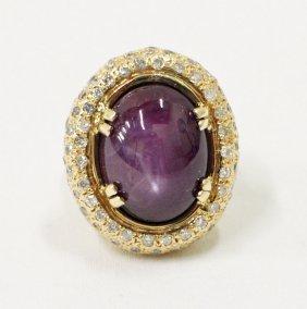 14k Star Sapphire & Diamond Ring