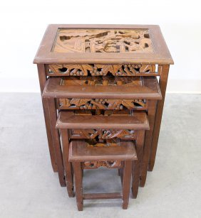 Carved Wood Nesting Tables