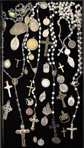 Vintage Rosary Beads, Relic, & Medals