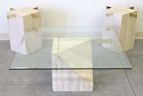 (3) Marble & Glass Tables