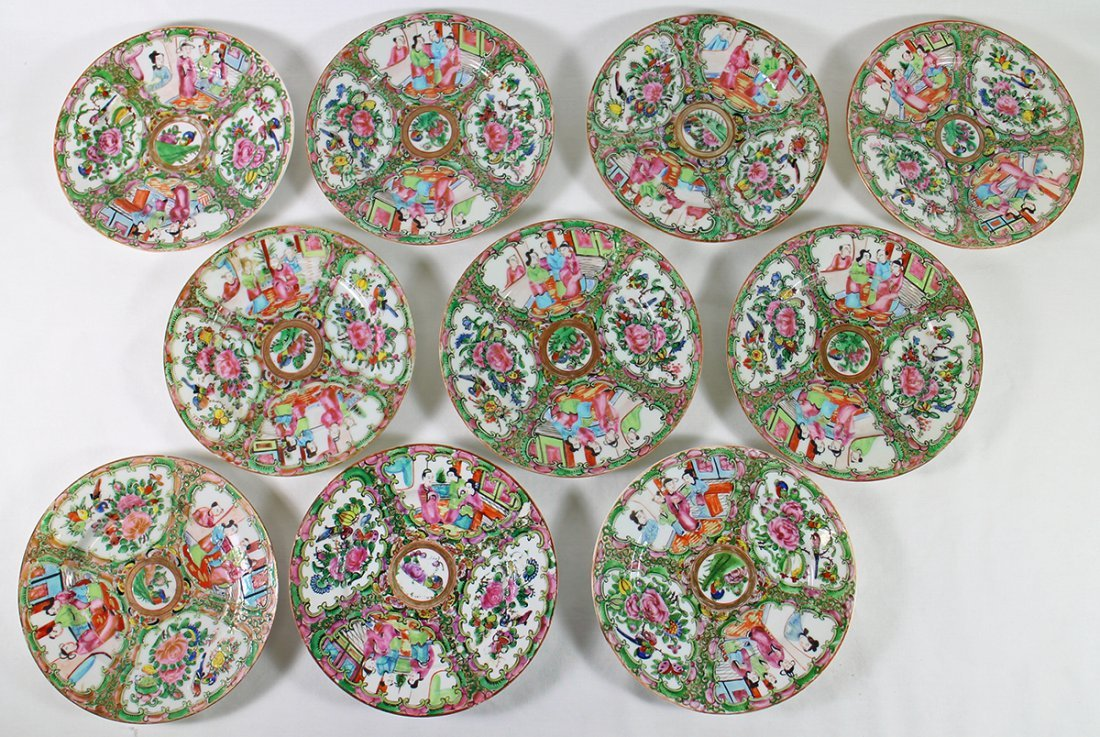(10) 19TH CENT. CHINESE ROSE MEDALLION PLATES