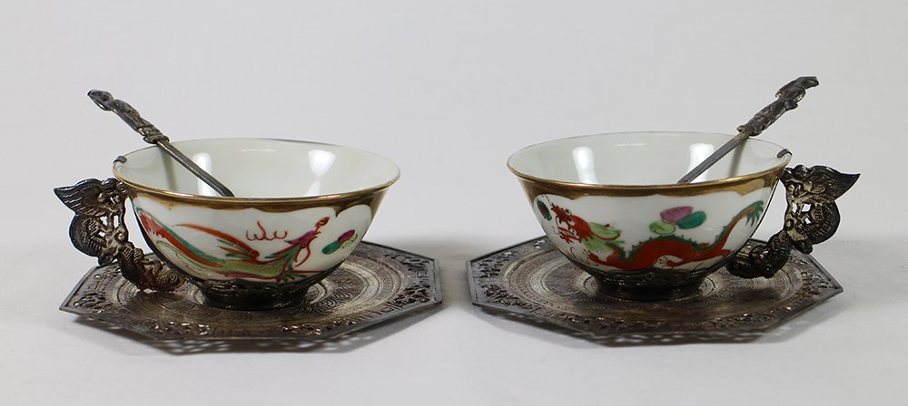 CHINESE PORCELAIN & SILVER TEACUP SET - 3