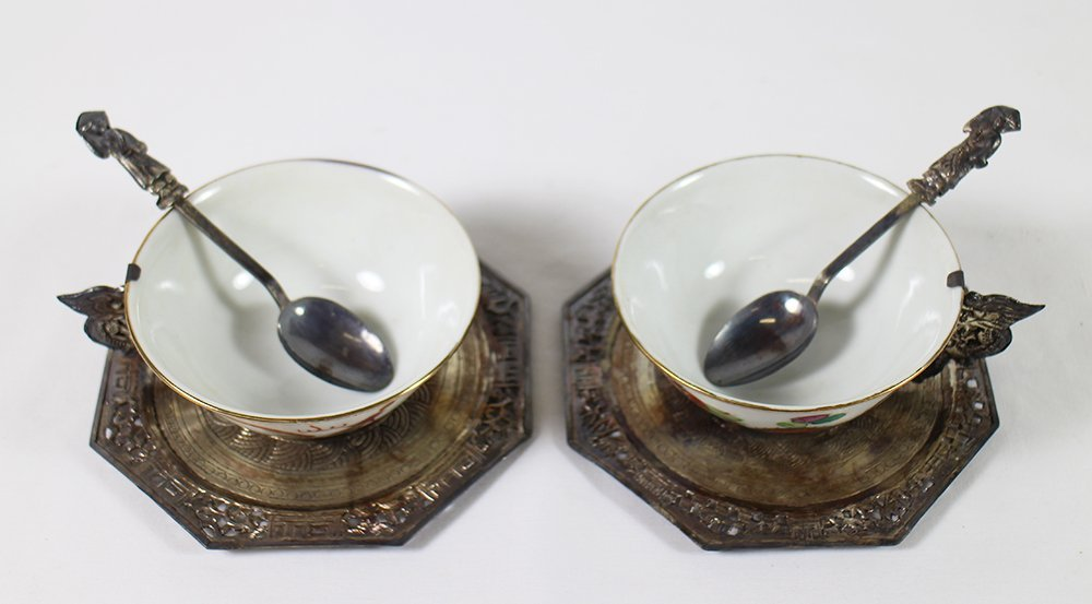 CHINESE PORCELAIN & SILVER TEACUP SET - 4