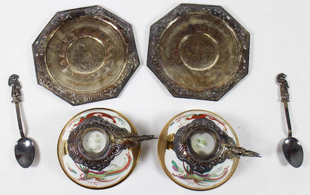 CHINESE PORCELAIN & SILVER TEACUP SET - 5