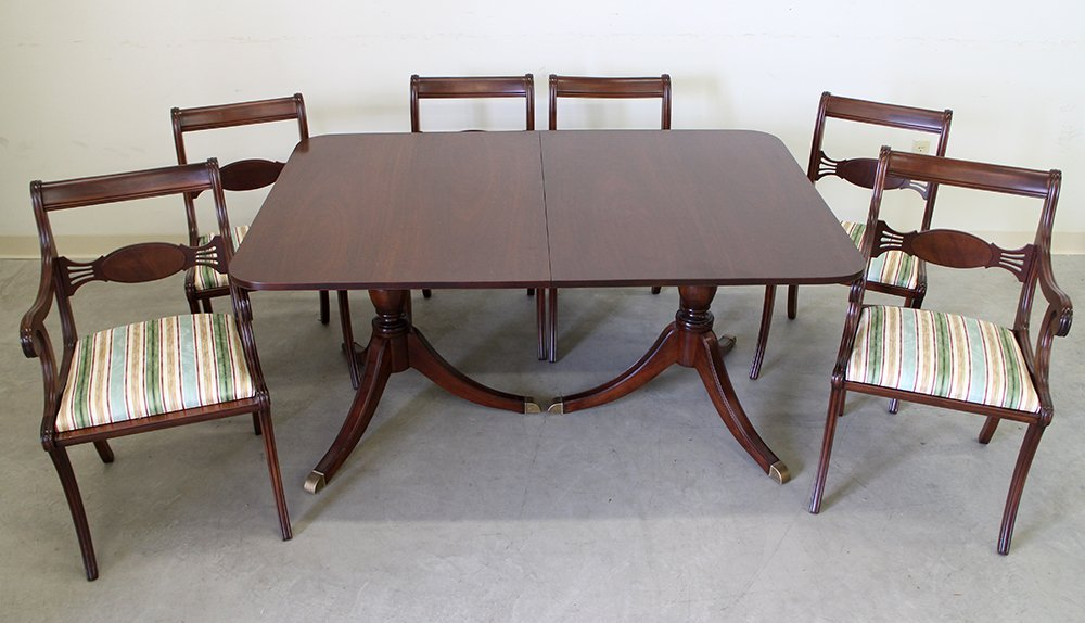 DUNCAN PHYFE STYLE DINING TABLE & CHAIRS - 2
