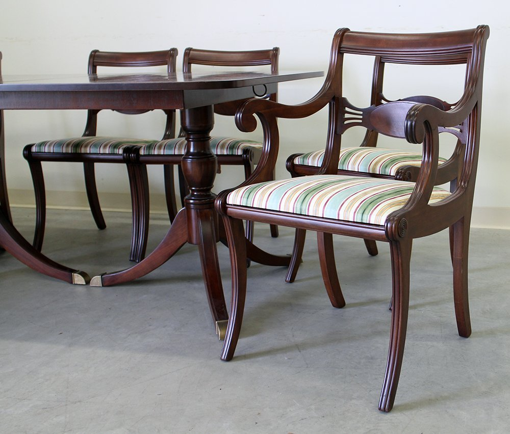 DUNCAN PHYFE STYLE DINING TABLE & CHAIRS - 3