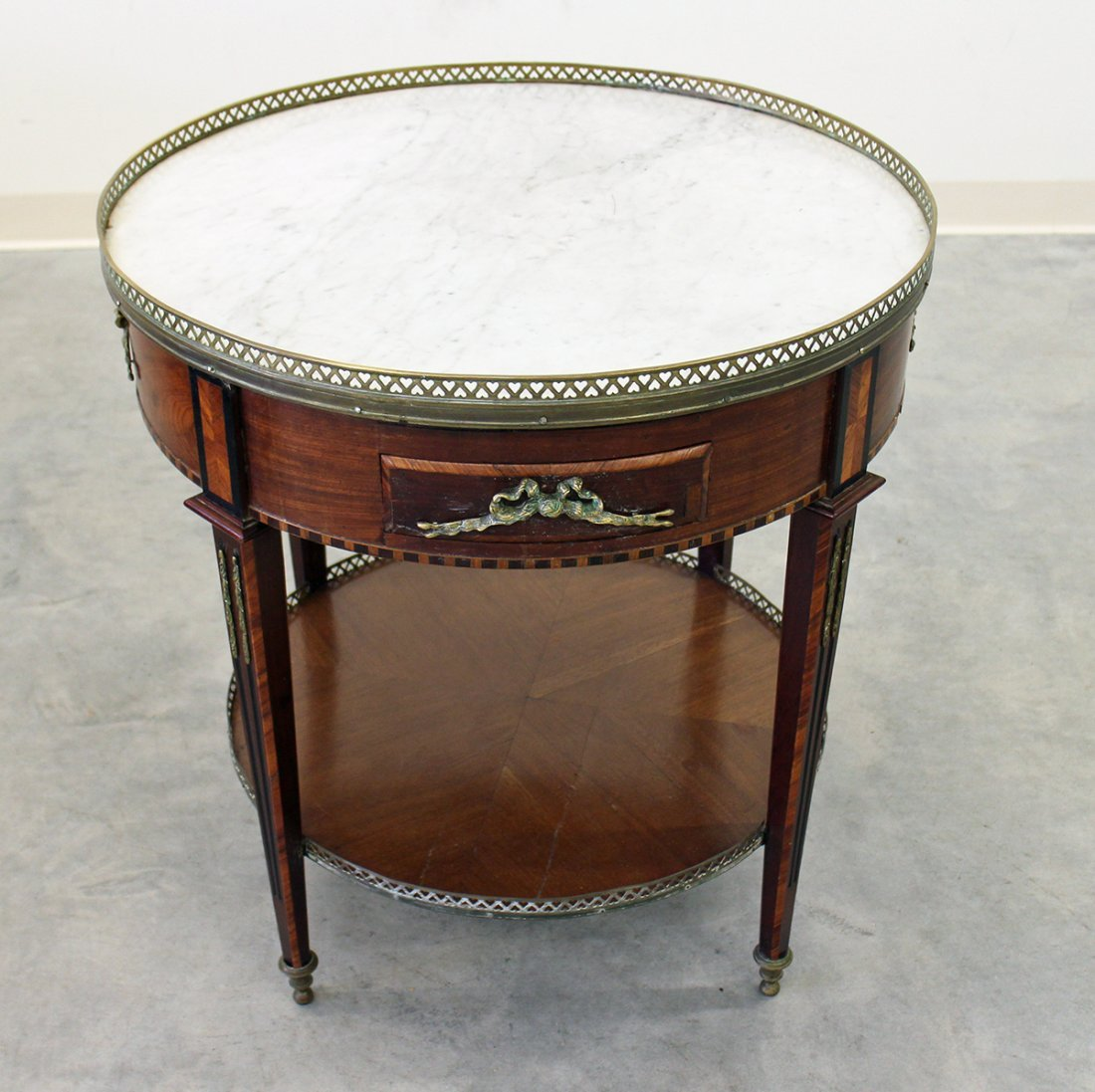 FRENCH ROUND TABLE W/ MARBLE INSERT - 2