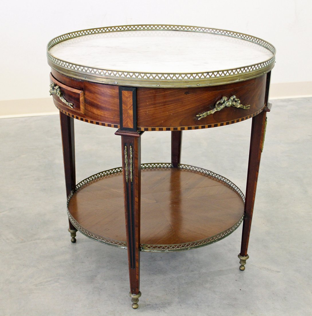 FRENCH ROUND TABLE W/ MARBLE INSERT - 3