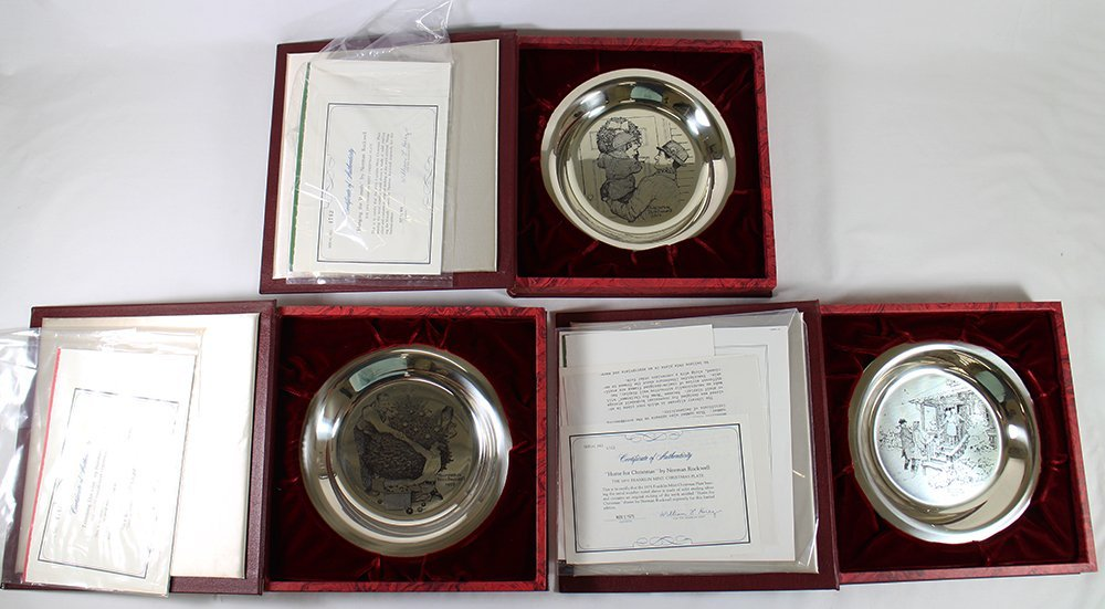 (3) STERLING FRANKLIN MINT NORMAN ROCKWELL PLATES
