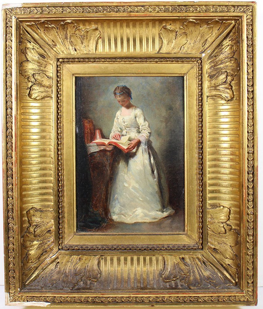 OIL PAINTING - GIRL READING A BOOK