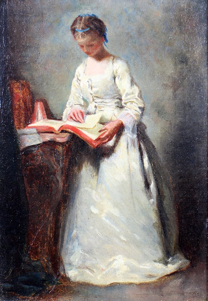 OIL PAINTING - GIRL READING A BOOK - 2
