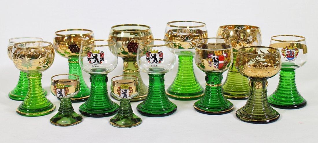 VINTAGE GERMAN ROEMER JEWELED WINE GOBLETS