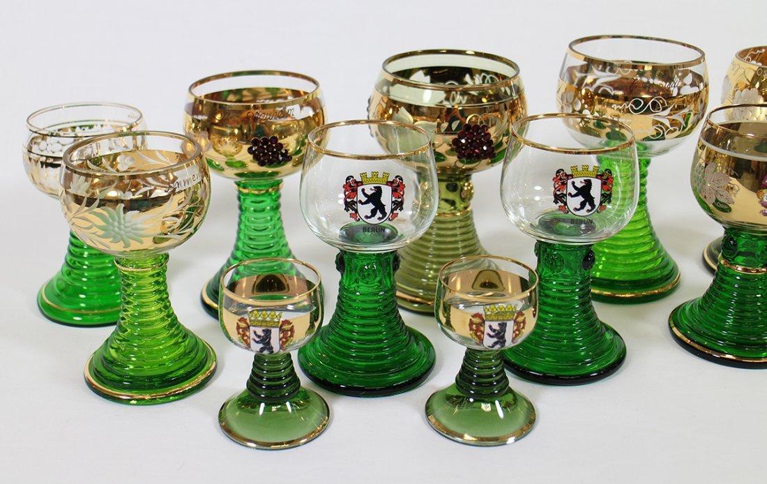 VINTAGE GERMAN ROEMER JEWELED WINE GOBLETS - 2