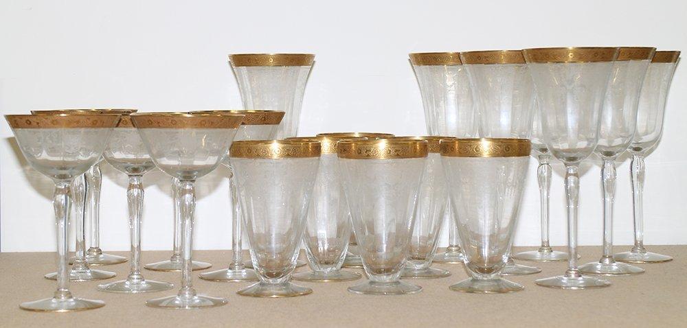 ANTIQUE GOLD RIM ETCHED GLASSES