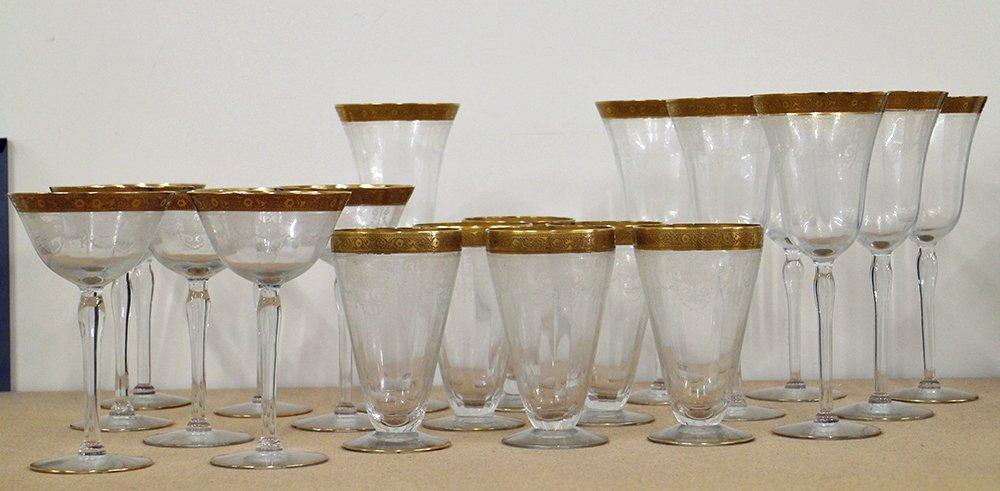 ANTIQUE GOLD RIM ETCHED GLASSES - 2