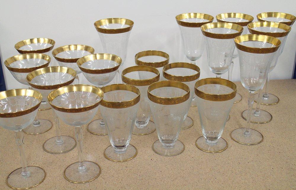 ANTIQUE GOLD RIM ETCHED GLASSES - 3