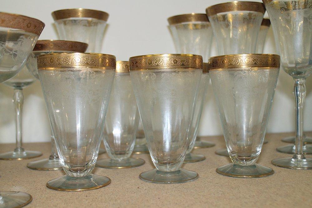 ANTIQUE GOLD RIM ETCHED GLASSES - 4