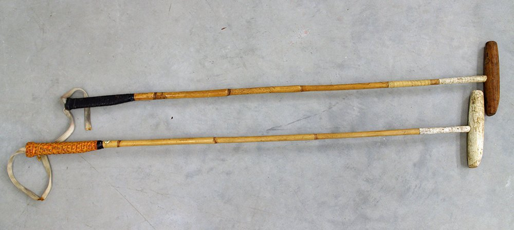 (2) VINTAGE BAMBOO POLO MALLETS