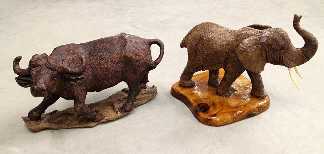 CARVED WOOD ELEPHANT & BUFFALO