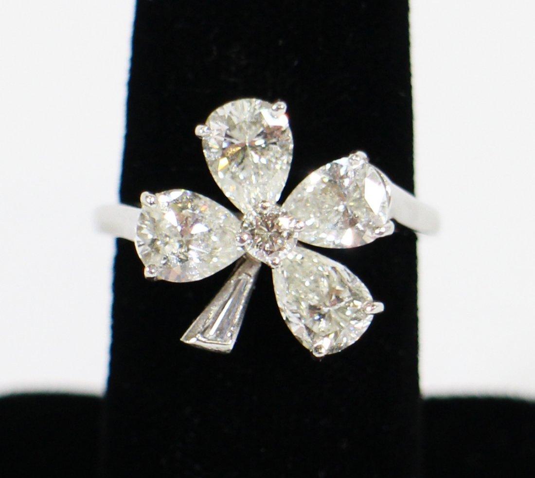 2 TCW PLATINUM & DIAMOND CLOVER RING