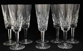 8 WATERFORD CRYSTAL CHAMPAGNE FLUTES