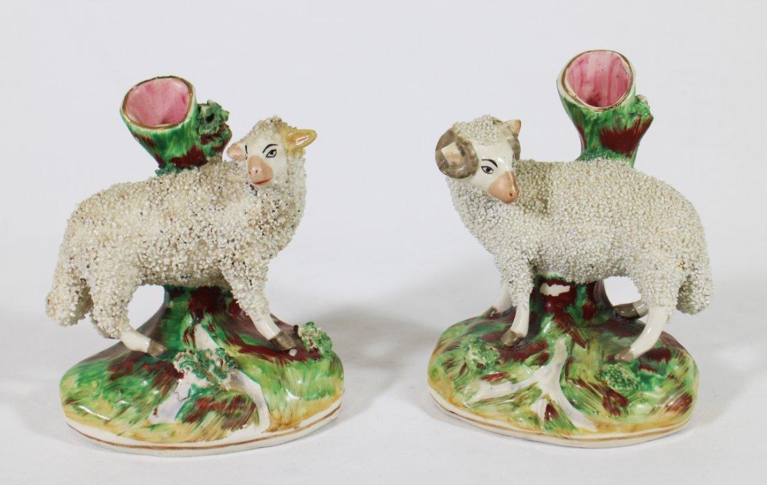 19TH CENTURY STAFFORDSHIRE SHEEP VASES