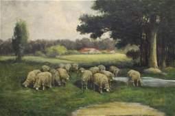 CHARLES PHELAN GRAZING SHEEP PAINTING