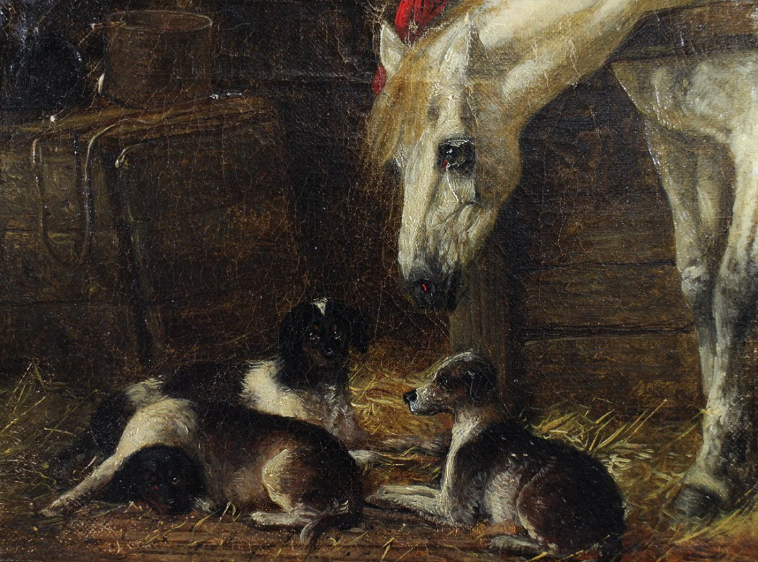 STYLE OF JOHN HERRING HORSE & HOUNDS PAINTING