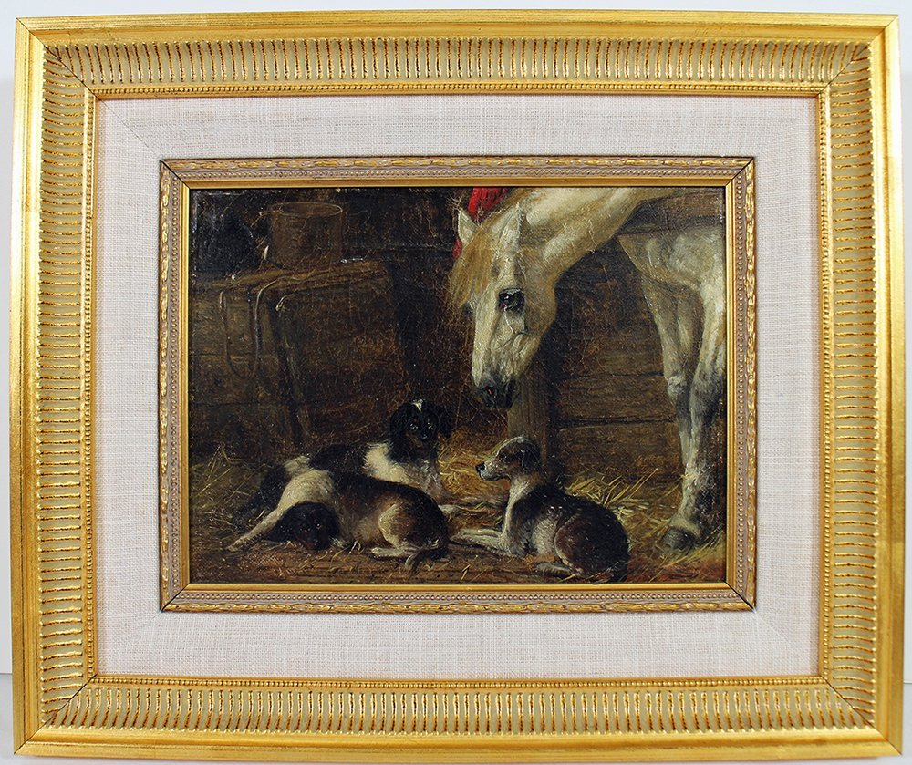STYLE OF JOHN HERRING HORSE & HOUNDS PAINTING - 2
