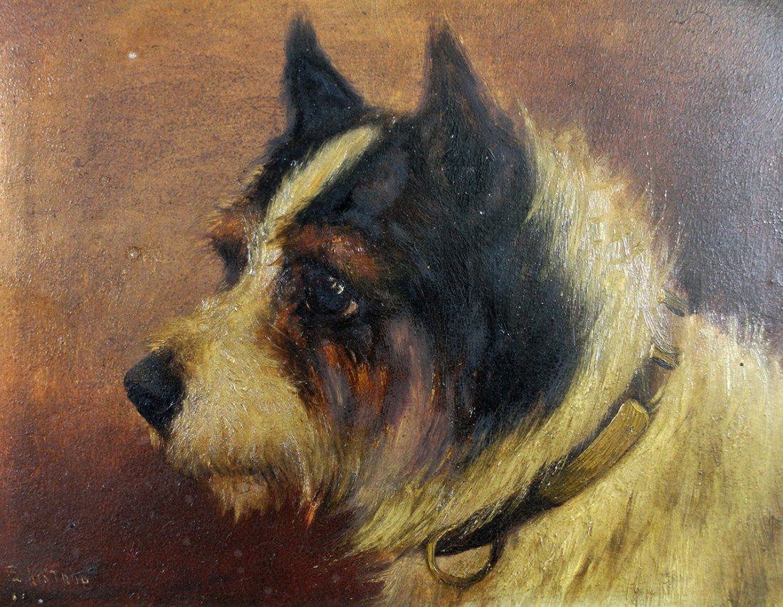 ANTIQUE OIL ON PANEL TERRIER PAINTING