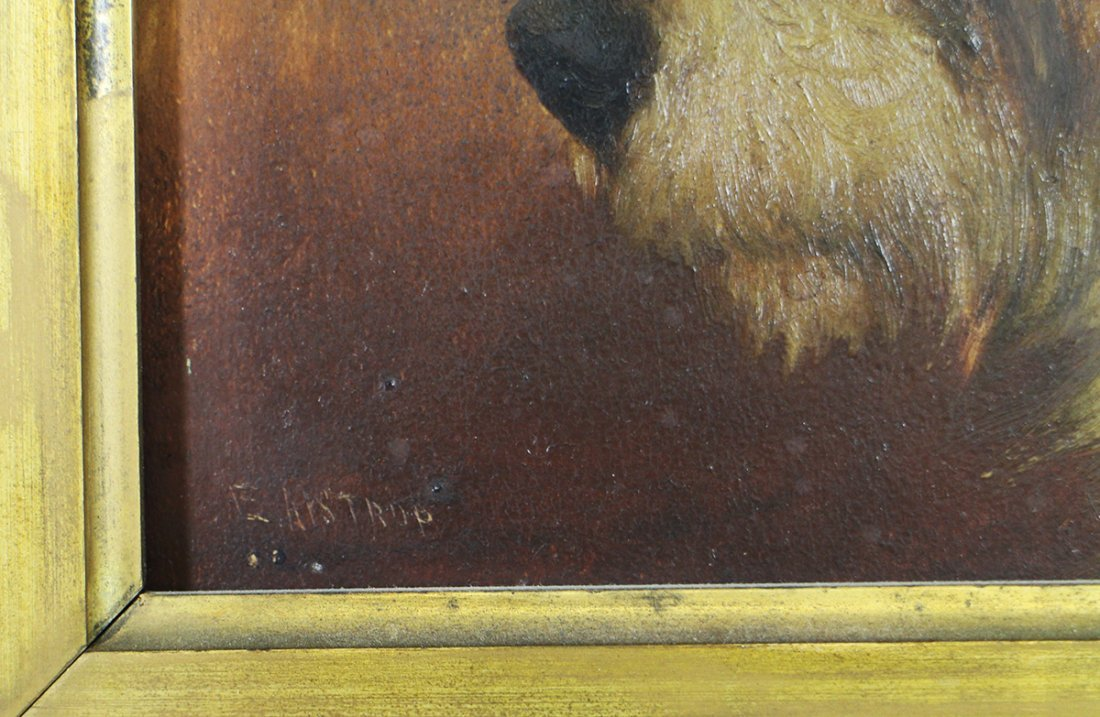 ANTIQUE OIL ON PANEL TERRIER PAINTING - 2