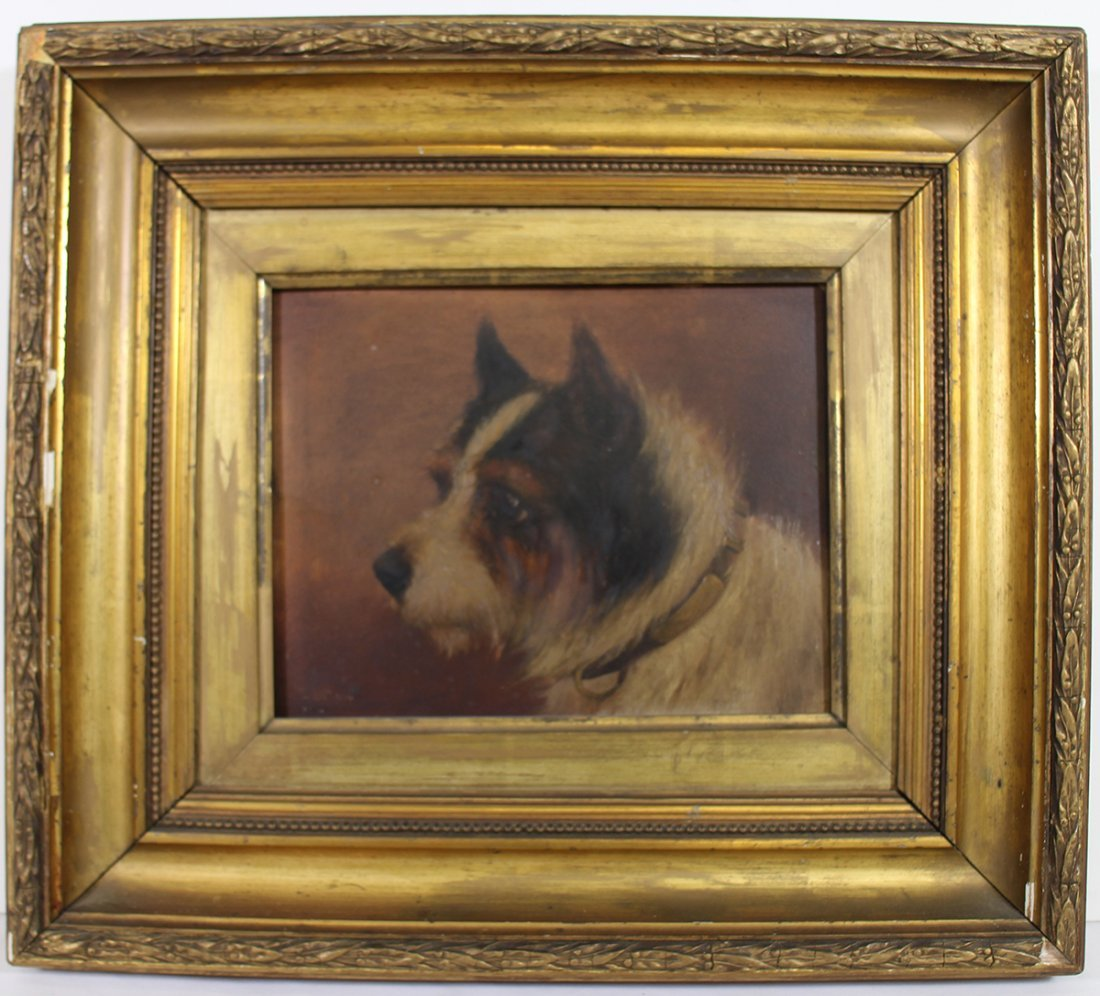 ANTIQUE OIL ON PANEL TERRIER PAINTING - 3