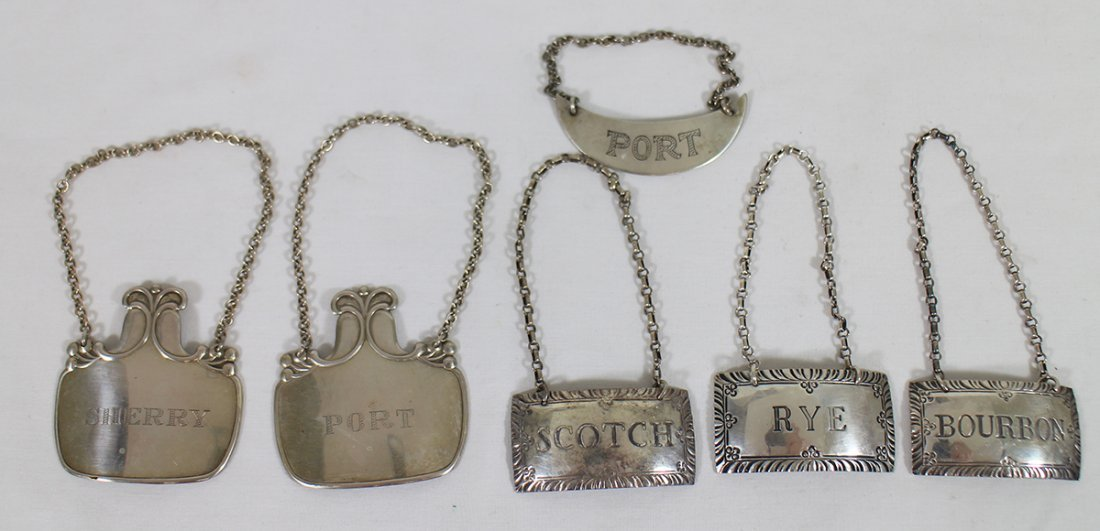 STERLING SILVER LIQUOR TAGS