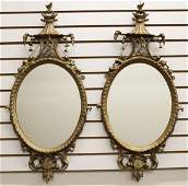 2 VICTORIAN GILT WOOD OVAL WALL MIRRORS