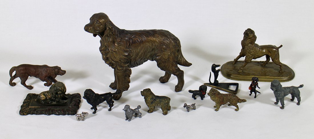VINTAGE CAST METAL BRONZE DOG SCULPTURES