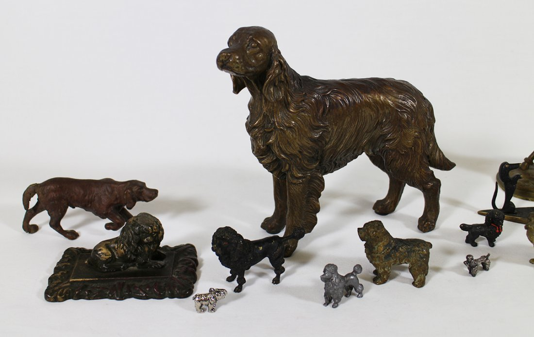 VINTAGE CAST METAL BRONZE DOG SCULPTURES - 3