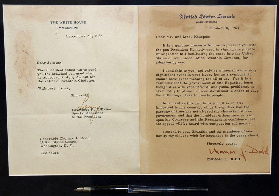 JOHN F. KENNEDY BILL SIGNING PEN & LETTERS JFK