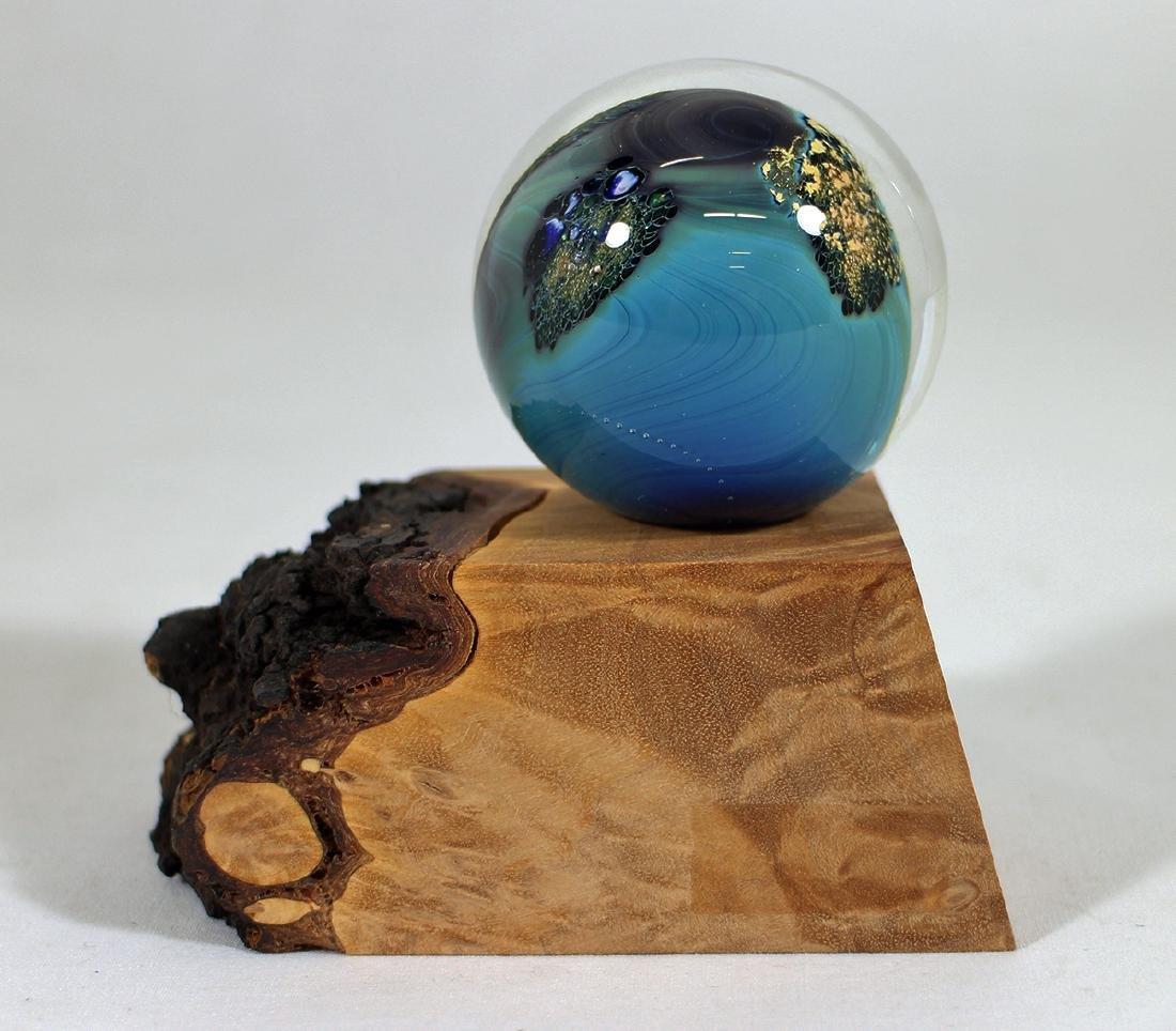 JOSH SIMPSON INHABITED PLANET GLASS W/ WOOD BASE
