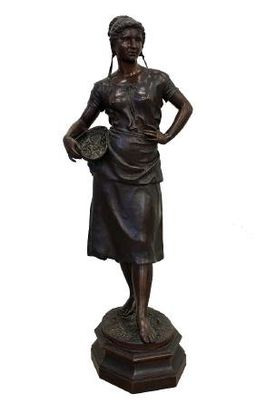 "CHARLES SUAN ""YOUNG FISHERWOMAN"" BRONZE"