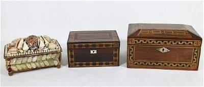 (2) INLAID WOOD BOXES & SHELL BOX