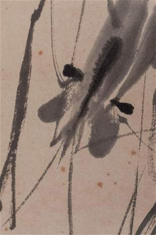 Original Ink Qi Baishi Chinese Scroll of Shrimp