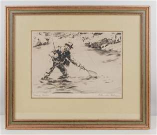 Ettinger, Churchill.Nearly Netted. Fine etched print. 7