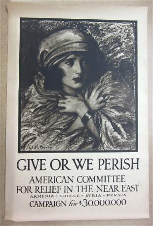 ARMENIAN RELIEF POSTERS. Group of 2 color lithograph