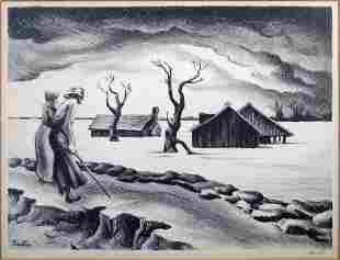 BENTON, THOMAS HART. Flood Fine lithograph. 9 x 12