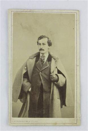 (BOOTH, JOHN WILKES). Carte-de-visite of Booth in his