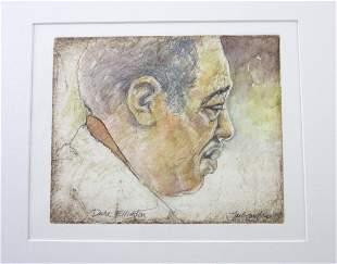 COUGHLIN, JACK. Duke Ellington Fine ORIGINAL watercolor