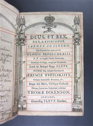 [FISHER, PAYNE]. Deus, et Rex, Rex, & Episcopus. Carmen